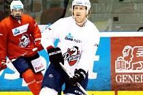 Filip Novák na tréninku pardubických hokejistů