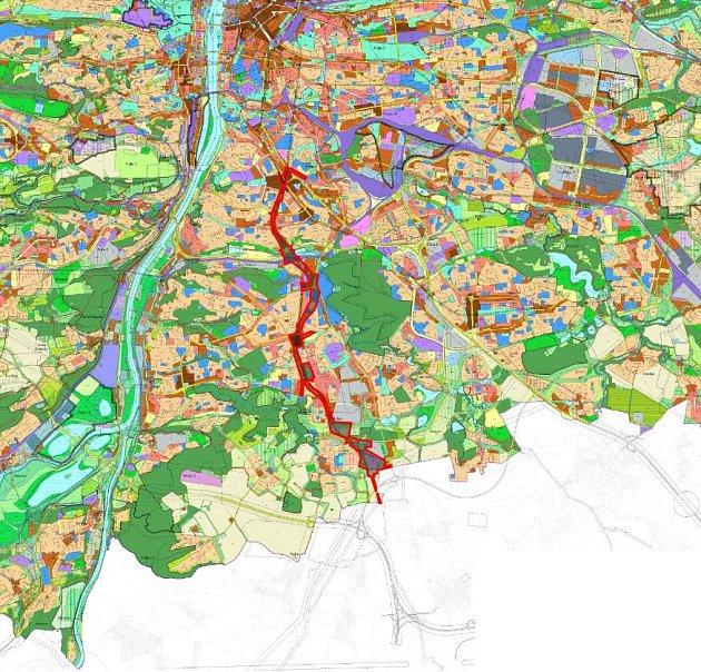 Vedení trasy metra D vpražském územním plánu