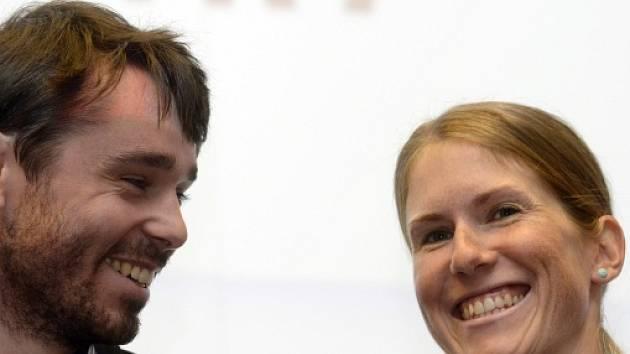 Aleš Razým a Kateřina Smutná na tiskové konferenci před novou sezonou.
