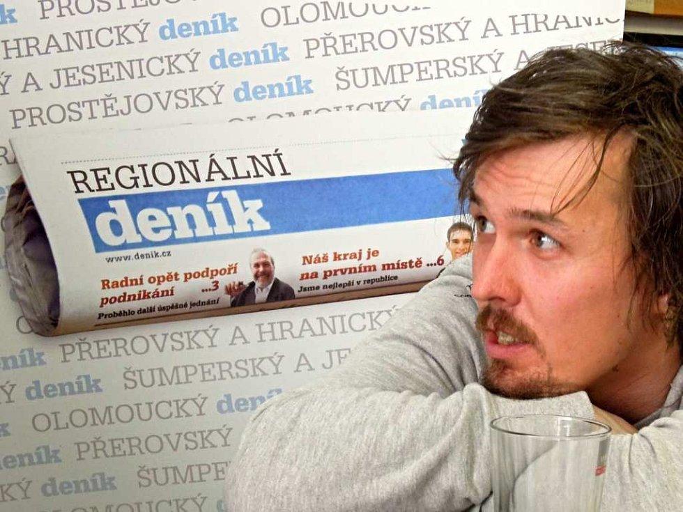Rok 2014: Ondřej Bank v redakci Deníku při on-line rozhovoru