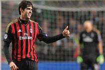 Hvězdný Kaká v dresu AC Milán.