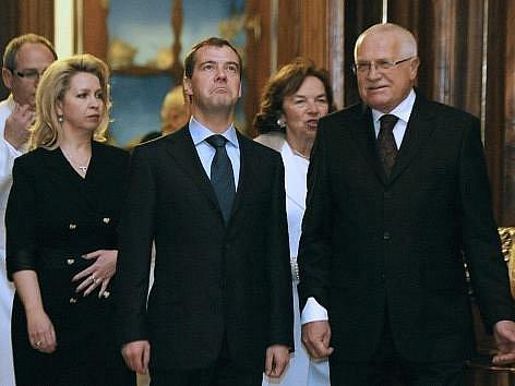 Klaus přivítal Medveděva ve Strahovském klášteře