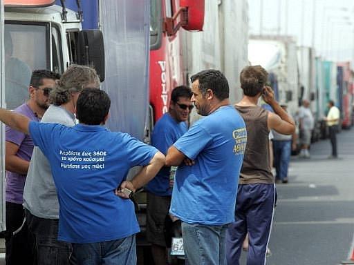 Stávkující řidiči v Řecku