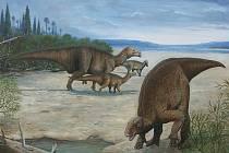 Vzácný nález. Pozůstatky dinosaura objevené u Kutné Hory jsou stále jediné, které se v Česku dosud našly. Na malých ostrůvcích žili dinosauři menšího vzrůstu než na pevnině. Život skupiny iguanodonů na ostrůvku u Kutné Hory ztvárnil malíř Petr Modlidba.