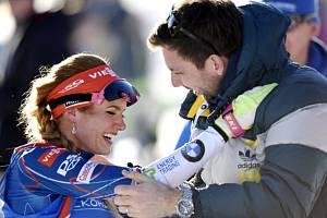 Jako první gratuloval Gabriele Koukalové ke zlatu manžel Petr Koukal.