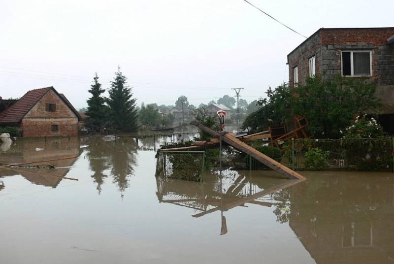 Povodeň na Novojičínsku v roce 2009.