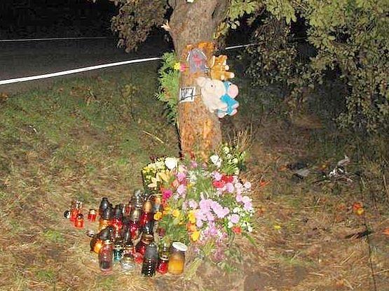 Po nárazu do tohoto stromu zemřeli čtyři mladí lidé. Jejich příbuzní a kamarádi pokryli místo tragédie svíčkami a plyšáky.