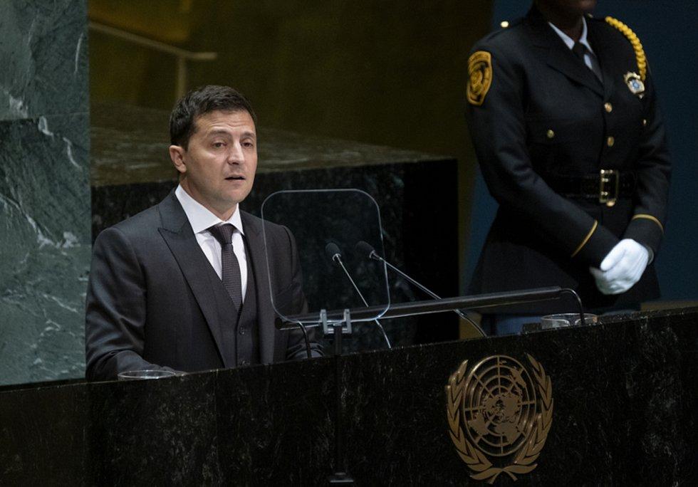 Prezident Ukrajiny Volodymyr Zelenskij hovoří v OSN