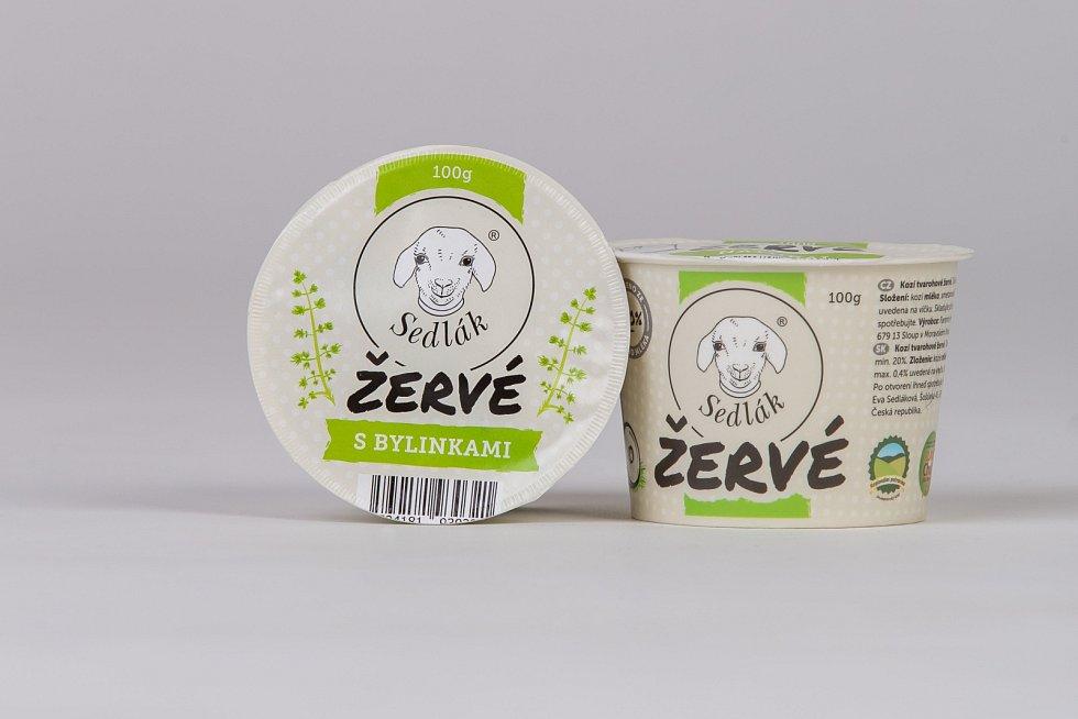 Výrobky z kozí farmy Sedlákových v Šošůvce u Moravského krasu.