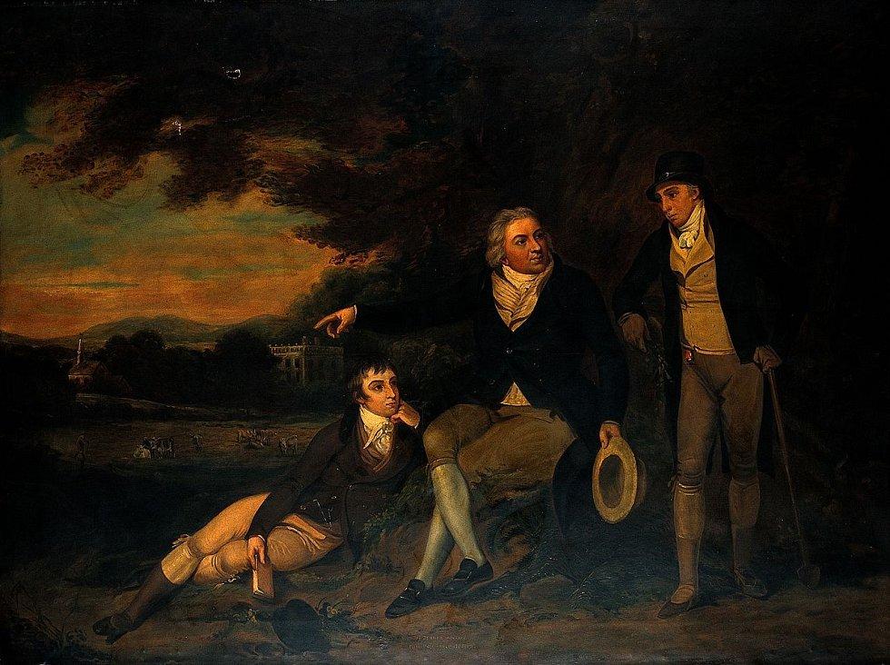 Edward Jenner doporučuje sedlákovi, aby dal očkovat svou rodinu, olejomalba anglického mistra, asi 1910