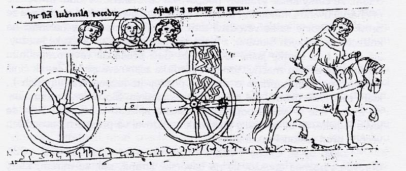 Svatá Ludmila odjíždí z Prahy na Tetín, Velislavova bible, kolem roku 1340