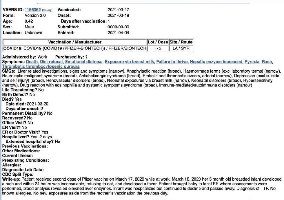 Údajný záznam ze systému hlášení nežádoucích účinků vakcín. Jakékoli konkrétní informace umožňující ověřitelnost ale chybějí