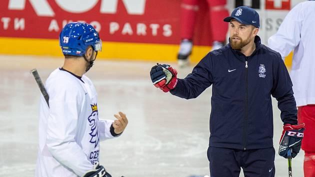 Kouč české hokejové reprezentace Filip Pešán během tréninku.