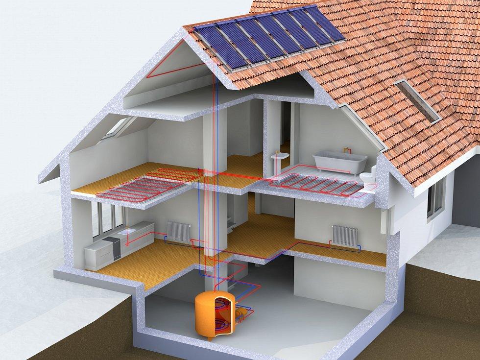 Pro snížení potřeby tepla na přípravu teplé vody lze využít solární kolektory v kombinaci s akumulační nádrží.