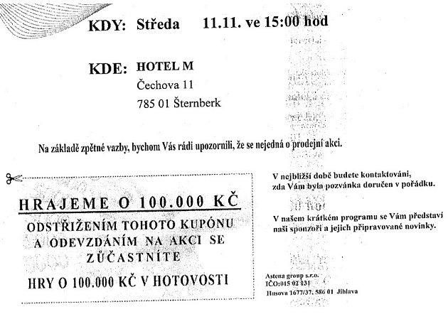 Astena group opakovaně lákala spotřebitele na slosování o 100.000 korun v hotovosti.