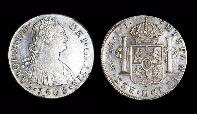 Španělské mince z počátku 19. století.