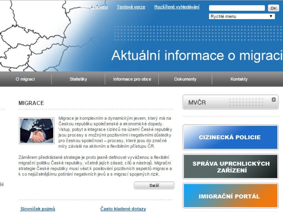 Nový web Ministerstva vnitra je určen problematice migrace.