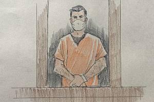 Obviněný bývalý policista Thomas Lane na kresbě ze soudní síně v Minneapolisu.