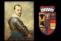 Albrecht Václav Eusebius z Valdštejna (24.9.1583 – 25.2.1634) a jeho erb.
