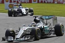 Lewis Hamilton ve Velké ceně Belgie.