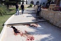 Místo útoku v tuniském letovisku.