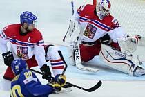 První zápas na MS: Česko - Švédsko a Joel Lundqvist střílí gól Alexandru Salákovi