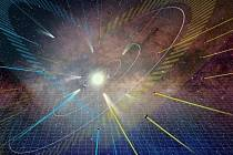 Umělecké ztvárnění představy dvou elipsovitých rovin, na nichž se nacházejí obíhající tělesa naší sluneční soustavy