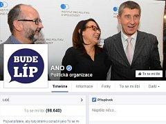 Facebooková stránka hnutí ANO.