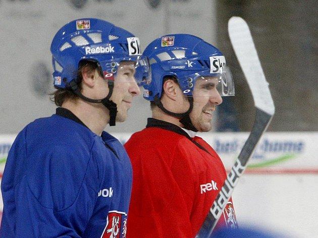 Petr Průcha (v modrém) a Tomáš Rolinek v dobré náladě na reprezentačním tréninku.