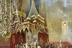 Korunovace Alexandra II. v chrámu Zesnutí přesvaté Bohorodice v Moskvě, obraz Mihályho Zichyho