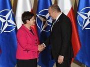 Beata Szydlová a gruzínský prezident Georgia Giorgi Margvelashvili.