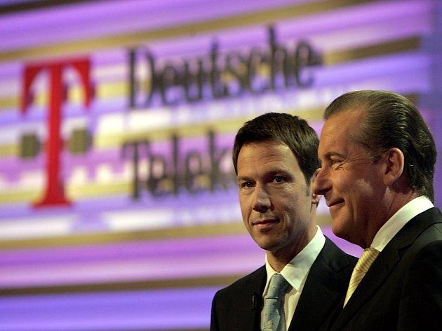 Generální ředitel René Obermann (vlevo) a finanční ředitel Karl-Gerhard Eick se snažili zaměstnance přesvědčil, aby nestávkovali.