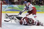 David Krejčí pěkným blafákem vstřelil první branku českého týmu v utkání s Lotyšskem.