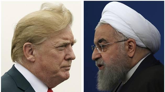 Americký prezident Donald Trump (vlevo) a jeho íránský protějšek Hasan Rúhání na kombinované fotografii