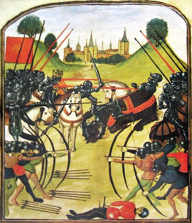 Bitva u Tewkesbury na dobové iluminaci ve Ghentském rukopisu