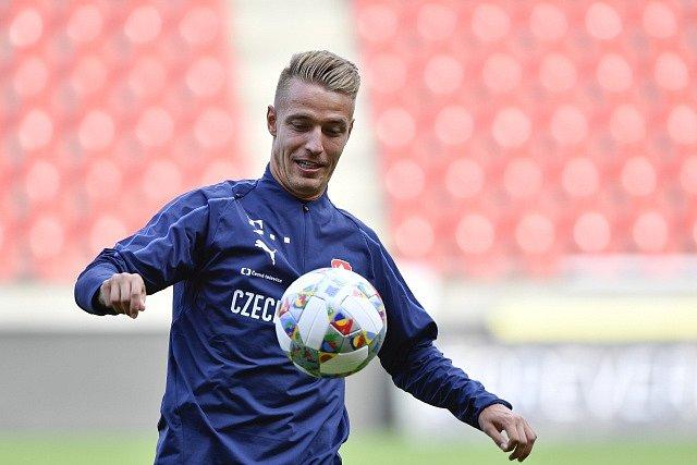 Ondřej Petrák na tréninku české reprezentace.