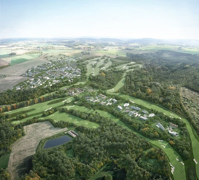 Londýnský investiční fond Kew Capital chystá u Popoviček jihovýchodně od Prahy výstavbu nového městečka s 220 luxusními domy a byty (na vizualizaci), některé vily navrhli i světoznámí architekti Richard Meier či Eva Jiřičná.