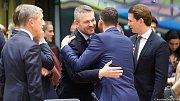 Andrej Babiš, Mateusz Morawiecki a Sebastian Kurz na summitu EU v Bruselu