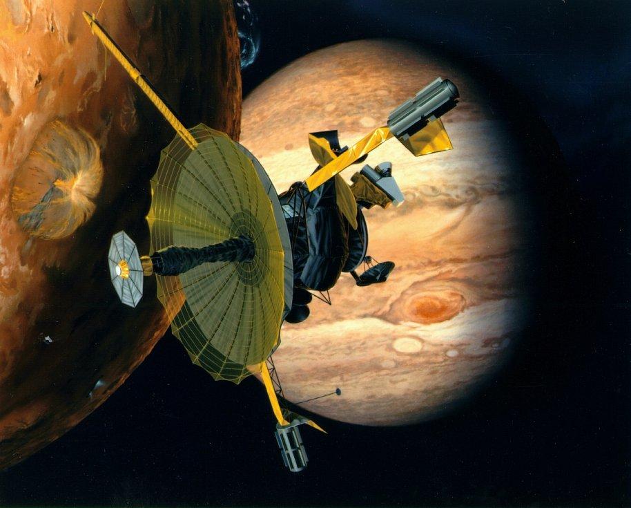 Umělecká představa sondy Galileo zkoumající Jupiter a jeho měsíce.