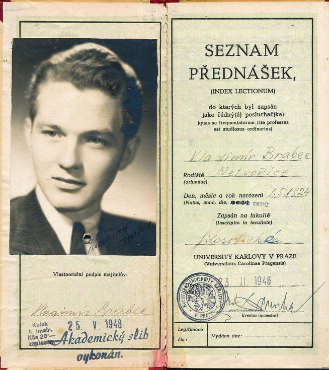Vysokoškolský průkaz (index) Vladimíra Brabce