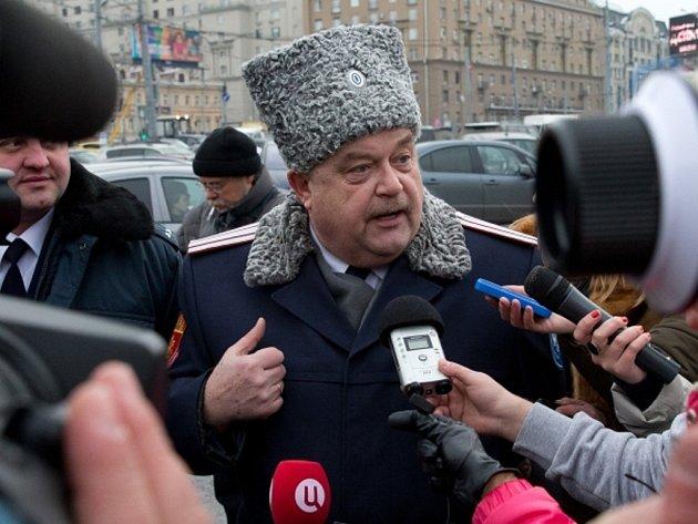 Jeden z velitelů moskevských kozáků Igor Guličov.