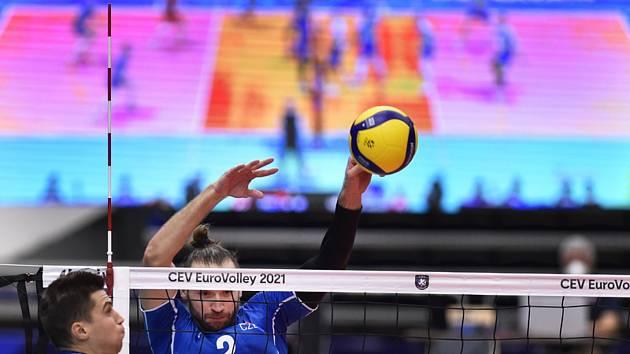 Utkání mistrovství Evropy volejbalistů - čtvrtfinále: ČR - Slovinsko, 15. září 2021 v Ostravě