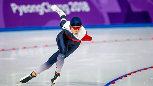 Nikol Zdráhalová ve finále rychlobruslení na 1500 metrů.
