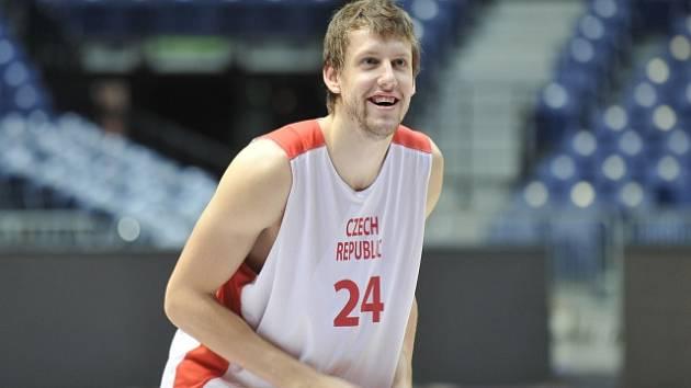 Basketbalista Jan Veselý při tréninku české reprezentace.