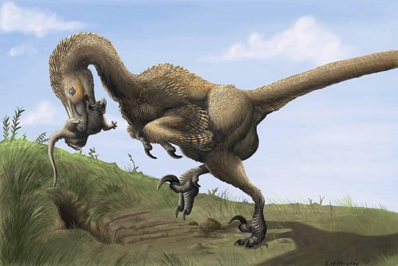 Umělecké zobrazení dinosauřích obyvatel Aljašky. Na snímku je Saurornitholestes nesoucí kořist.