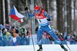 Michal Šlesingr se ve stíhacím závodu v Novém Městě na Moravě kvůli čerstvému sněhu trápil.