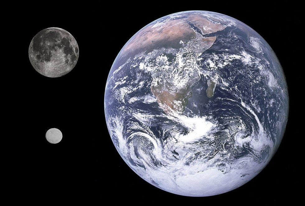 Srovnání velikosti Země, pozemského Měsíce a trpasličí planety Ceres