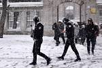 Husté sněžení v Istanbulu.