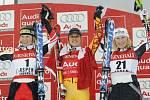 Stupně vítězů. Zleva Marlies Schildová, Britt Janyková, Renate Götschlová.