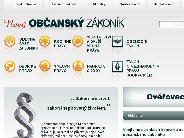 Webová stránka Občanského zákoníku